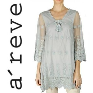 A'reve Bell Sleeve Crochet Trim Lace Up Tunic Sz L